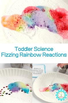 If you want to try STEM activities for toddlers and preschoolers, start with easy, fun things! These fizzing rainbow baking soda and vinegar experiment fit the bill perfectly and is so easy a toddler can do it! Science Projects For Preschoolers, Science For Toddlers, Toddler Art Projects, Science Center Preschool, Preschool Crafts, Stem Activities, Toddler Activities, Rainbow Baking, Color Wars