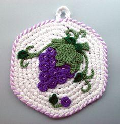 Crochet Purple Grapes Kitchen Potholder by meekssandygirl, via Flickr