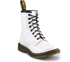 Hello Kitty Combat Boots | ... Martens 1460 WOMENS WHITE PATENT LAMPER - Doc Martens Boots and Shoes