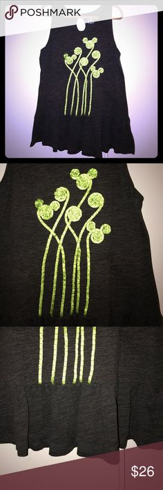 Authentic Disney XXL Peplum tank w/green trees Authentic XXL Disney Grey tank with Mickey head green trees and cute cut out in back. Peplum style for flattering plus size fit. Washed but never worn. Disney Tops Tank Tops