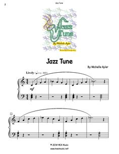 Jazz Tune Piano Sheet Music Solo.  First page sample of a composition written for piano solo. This piece is for beginning piano students. Great for students that are open to playing pretty much anything. Use this sheet music for piano recitals, lessons, and more.  A level 3B piano music sheet in the key of C. Get a printable download for only $0.99. Or order traditional sheet music for delivery. Only $2.99.
