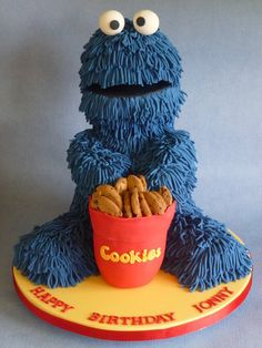 My first Cookie Monster cake. A chocolate cake with RKT arms & legs. Fun cake to make x Gorgeous Cakes, Pretty Cakes, Cute Cakes, Yummy Cakes, Amazing Cakes, Cookie Monster, Monster Cakes, Fun Cupcakes, Cupcake Cakes