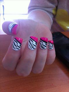 Black and white zebra nail design