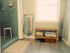 wall color + big open shower & tile