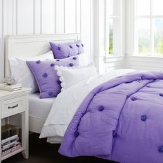 hopefully getting this bedding! Crinkle Puff Quilt + Sham, Purple | PBteen