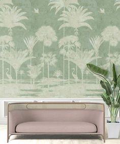 Wallpaper-Shadow-Palms-Mint-3 Palm Tree Wallpaper Mural, Bird Wallpaper, Wallpaper Decor, One Light, All The Colors, Tapestry, Palms, Murals, Linz