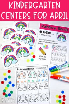 Math and literacy centers for April! Printable center activities for kindergarten that are easy and quick to prep!