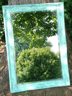 Shabby Chic Mirror in Distressed Aqua or Choose Color Extra Large 42 x 30 Seaside Beach Cottage. $225.00, via Etsy.