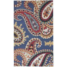 Navy red yellow ivory paisley rug
