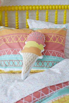 The perfect topper for sweet dreams...an ice cream throw pillow!