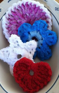 Nylon Pot Scrubber Dish scrubber, 4 Double Layered Crocheted Scrubbies, 1 Signature Scrubber, 1 Flower Scrubber, 1 Star Scrubber, & 1 Heart