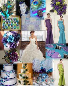 Purple peacock wedding(not the wedding dress) Peacock Wedding Colors, Purple Peacock, Peacock Colors, Peacock Theme, Purple Wedding, Peacock Feathers, Spring Wedding, Wedding Colours, Wedding Flowers