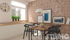 Jadalnia w stylu vintage #kuchnia #wnętrze z cegłą