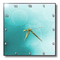 Contemporary Clocks, Modern Clock, Turquoise Background, Circles, Pretty, Wall, Contemporary Mantel Clocks, Walls