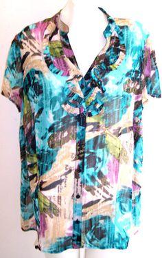 East 5th Plus Size Top 2X SHEER Wearable Art Ruffled Neckline Cap Slv Blouse 50B