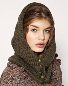 pretty wool hood, love these buttons
