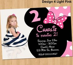 HUGE SELECTION Minnie Mouse Birthday Invitation, Pink Minnie Mouse ...