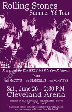 Rolling Stones 1966 Cleveland Concert Poster, with the McCoys, Standells and Ronettes.  Fine line-up.