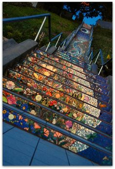 16th Ave & Moraga, San Francisco. Beautiful mosaic staircase that starts with the ocean at the bottom and ends with the sky at the top.