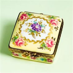 Limoges Antique Style Square Box with Roses The Cottage Shop