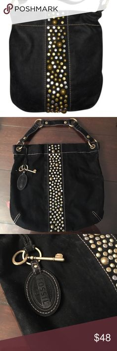 Fossil canvas black purse with studs Preowned, vintage canvas black purse Bags