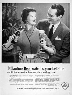 1954 Ballantine Beer original vintage advertisement. Ballantine Beer has fewer calories than any other leading beer. Ballantine Beer is the product of 114 years of brewing experience.
