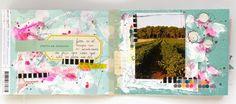 mini album. scrapbook . mix media. rosa verdosa.Mini del verano