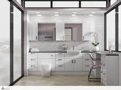 Modern interior design inspiration by http://www.setvisionspix.co.uk/. The gloss white fitted bathroom furniture is set in a city centre apartment. The black laminate worktop is mirrored in the black slim framed windows. The marble metro splashbacks tiles add texture, mixed with teh parquet flooring these fit within the Scandinavian trend. The blush pink walls add a Pantone inspired finish in this grown up feminine bathroom.
