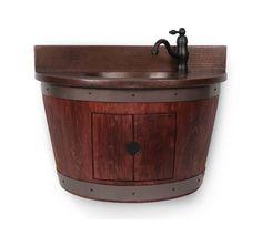 "Premier Copper Products WBVW_SF100 30"" Wall Mounted Wine Barrel Vanity Set Inclu Cabernet Fixture Vanity Single"