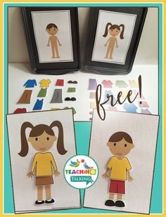 "These fun dress up games are intended to help students who are beginning to combine two words together in phrases such as ""shoes on"" or for older children who need practice in naming clothing vocabulary. The file contains 30 everyday clothing options, so pick your favorite outfit and Let's Get Dressed! This download includes: 1 x  girl baseboard …"