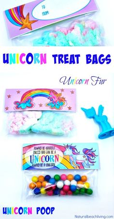 Unicorn Treat Bags that Make the Perfect Gift Ideas, Unicorn Poop, Unicorn Party Favors, Unicorn Fur, Unicorn goodie bag ideas, Valentine's Day Printables