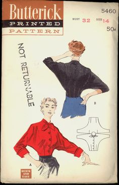Uncut 1950s Size 14 Bust 32 Quick and Easy by VintagePatternsCo1