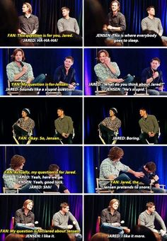 Jared and Jensen when fans ask the other a question
