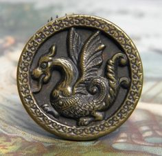 Vintage Button Dragon or Gryphon Antique Brass Other by ohmymilky