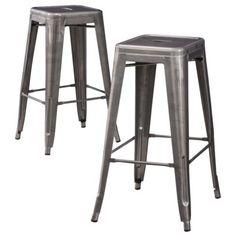 Carlisle Metal Bar Stool - Set of 2 Kitchen counter stools Target in yellow! Metal Counter Stools, Metal Stool, Bar Counter, Industrial Bar Stools, Kitchen Stools, Kitchen Seating, Kitchen Countertops, Industrial Design, Grey Bar Stools