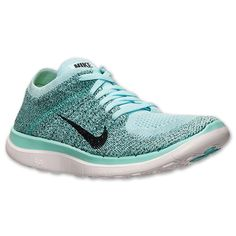 Women's Nike Free Flyknit 4.0 Running Shoes | Finish Line | Glacier Ice/Hyper Turquoise/Black