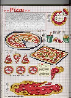 Cross stitching pizza