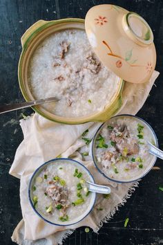 "Pork bone congee, or zhū gǔ zhōu, or, more familiar to me in Cantonese phonetics, ""gee gwut jook,"" is a simple rice congee dish flavored with a meaty pork bone stock. I remember the pork bone congee from our childhood cooked in a large 12-quart soup pot. (I often wonder where that pot went. I'll …"