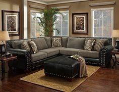 Universal - Sterling - Two-Toned - Bonded Leather - Grey - Sectional | MonsterMarketplace.com