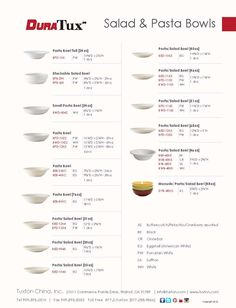 Salad & Pasta Bowls Collection from DuraTux by Tuxton China