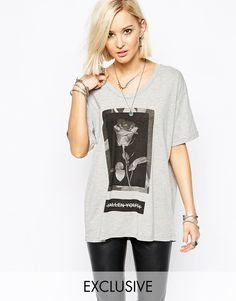 Image 1 ofReligion Oversized T-Shirt With Flower Fall Youth Print