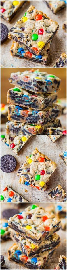 Loaded M&M Oreo Cookie Bars - Stuffed to the max with M&Ms and Oreos! Easy, no-mixer recipe that's ready in 30 minutes for last minute needs. Always a hit at parties! At averiecooks.com