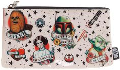 """STAR WARS TATTOO FLASH PENCIL CASE We have you now! Now you must buy this amazing Star Wars tattoo Flash pencil case! Measures 8""""w x 4.25""""h and features awesome printed tattoo flash. $7.00 #starwars #pencilcase #tattooflash"""