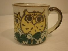 Vintage Speckled Stoneware Owl Mug, Coffee Cup for display #unknown