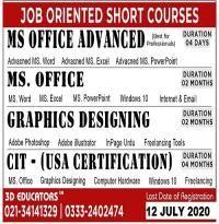 Job Oriented Short Courses In Karachi 3d Educato In 2020 Short Courses Job Freelance Tools