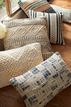 These beautiful pillows from Magnolia Home by Joanna Gaines combine rustic wool blends with intriguing textures—so you can love the space you're in. They're now available at pier1.com!