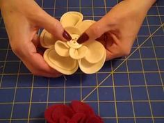 watch the tutorial!!!  They would be so cute added to a throw pillow for some extra decoration.  They lady also suggested using them on a hand band or clip.  The flowers are so easy to make!!