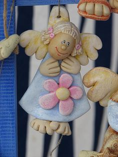 Salt Dough Crafts, Salt Dough Ornaments, Angel Ornaments, Elephant Crafts, Handmade Angels, Christmas Crafts, Christmas Ornaments, Pasta Flexible, Paper Hearts