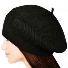 Acrylic and Rabbit Hair Fluffy Twisted Knit Classic Beret Style Beanie Cap Hat