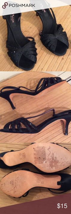 Pretty dress sandals with black sequins. Adorable Nina dress sandals, delicate and feminine. Cute little black sparkles for extra detail. Worn once. Nina Shoes Heels